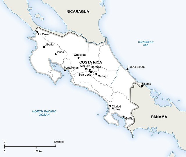 コスタリカの位置